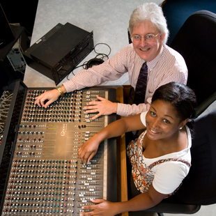 Student and professor behind soundboard at SHSJC