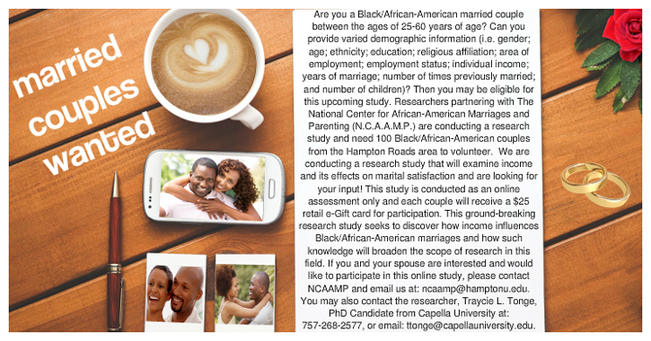 Married Couples Needed for Study!