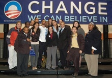 HU student Moses Wilson (3rd from left) traveled to South Carolina to campaign for Sen. Obama.