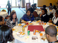 Sue Porter speaks to students during luncheon