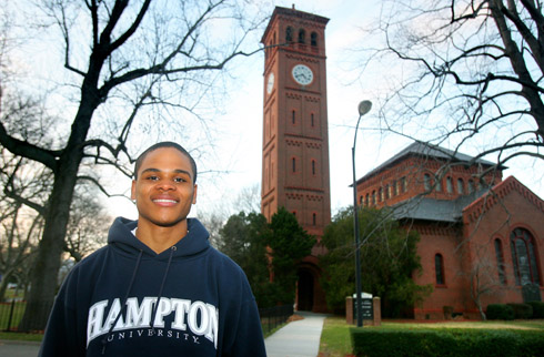Sean Robinson stands in front of Hampton Memorial Church. Photo by Heather S. Hughes, The Daily Press