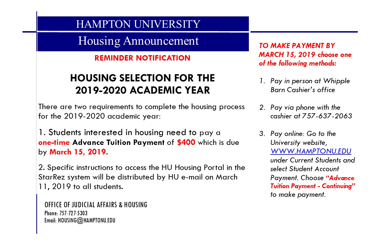 Hampton University : CONTINUING STUDENT HOUSING SELECTION